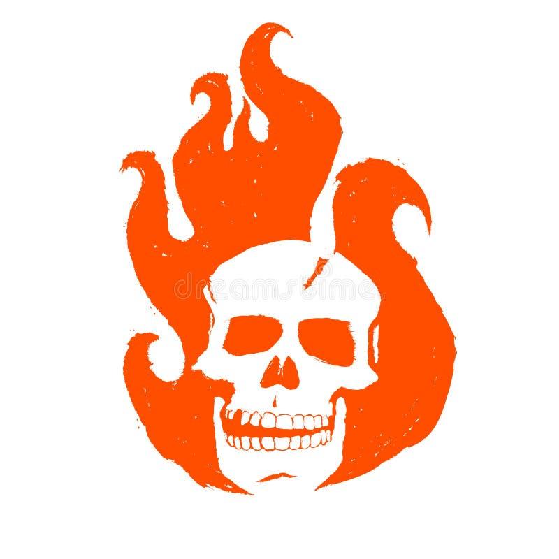 Czaszka w ogieniu Płonąca głowa ducha setkarz Abstrakcjonistyczny logo dla korporacyjnej tożsamości Model plakat, ulotki royalty ilustracja