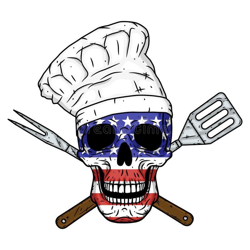 Czaszka w szefa kuchni kapeluszu, krzyżujących grillów narzędziach i flaga amerykańskiej, Szef kuchni czaszka ilustracji