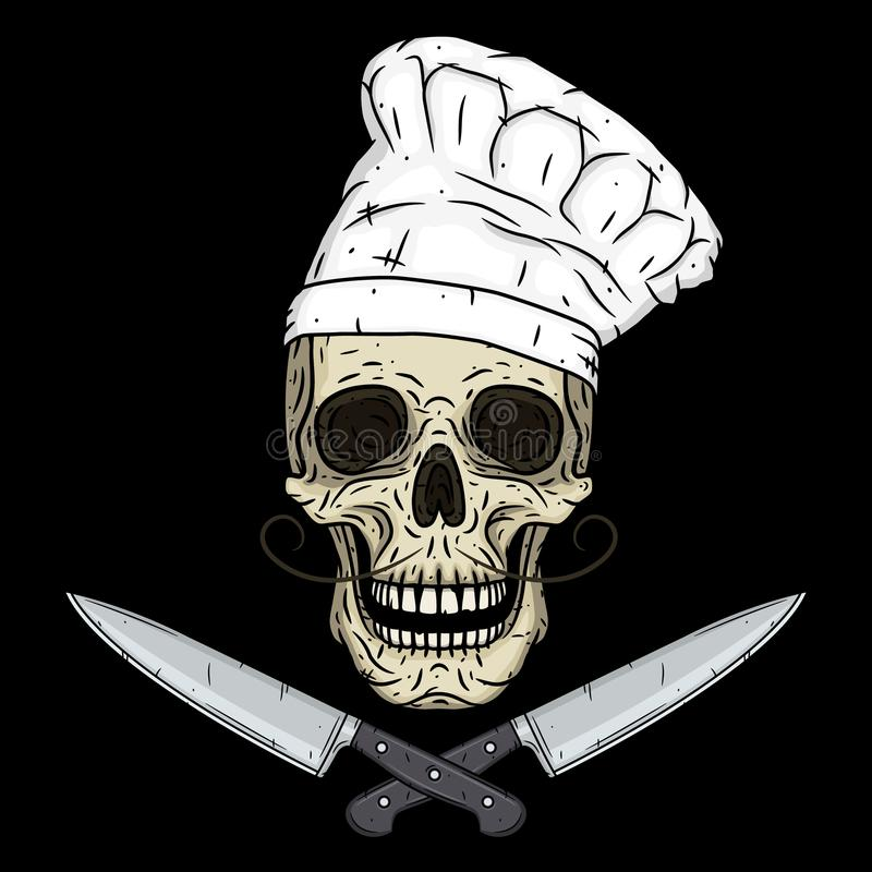 Czaszka w toque z knifes Kreskówki czaszka Szef kuchni czaszka ilustracji