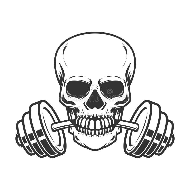 Czaszka z barbell w zębach Projektuje element dla gym loga, etykietka, emblemat, znak, plakat, t koszula ilustracja wektor