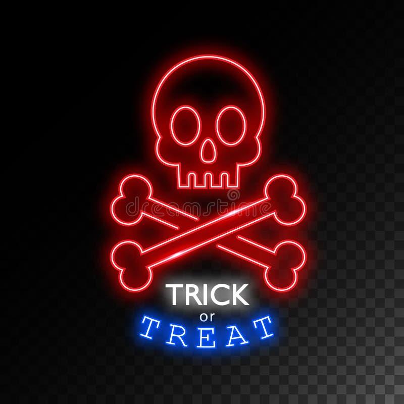 Czaszka z kość neonowym znakiem sztuczka przysmaki Halloweenowy jaskrawy signboard, lekki sztandar Logo, etykietka, emblemat wekt royalty ilustracja