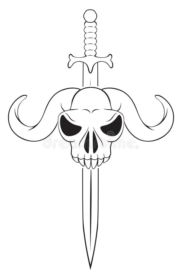 Czaszka z kordzikiem ilustracja wektor