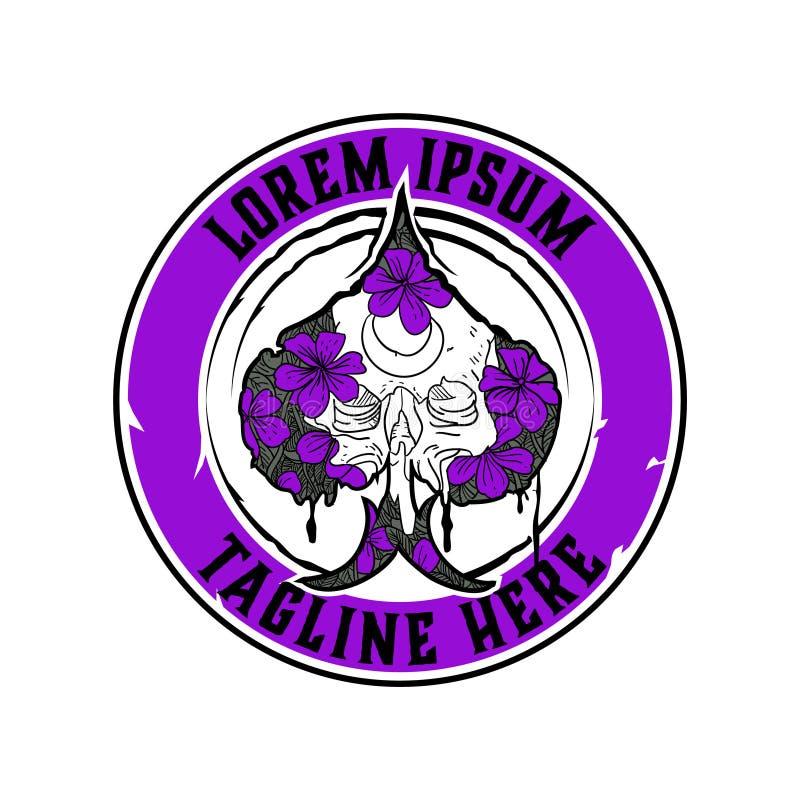 Czaszka z kwiatem i rydel odznaki round logo wektorowym szablonem ilustracja wektor