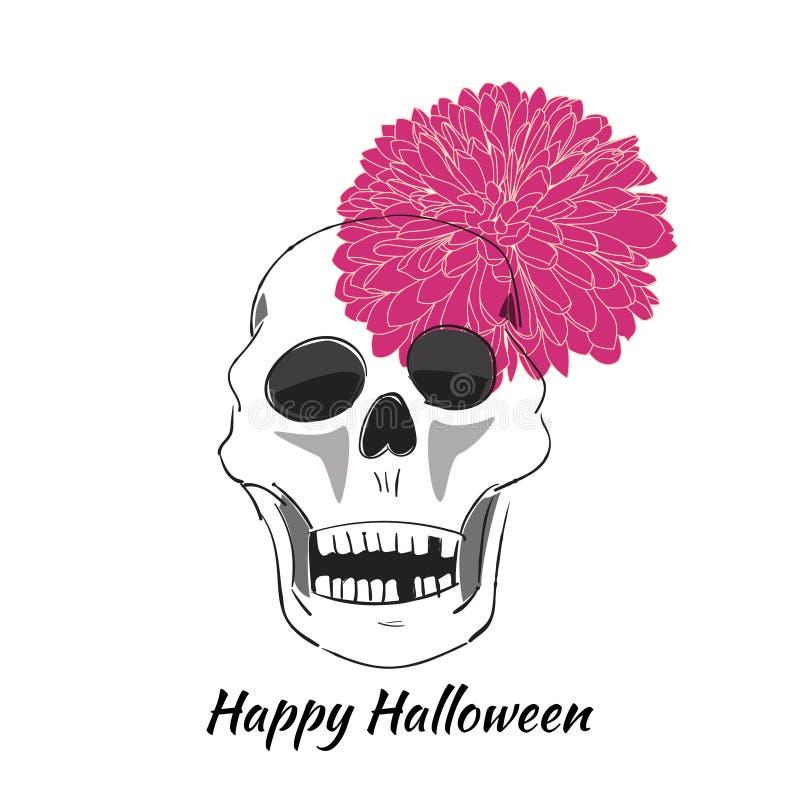 Czaszka z kwiatem Ręka rysująca wektorowa ilustracja szczęśliwego halloween royalty ilustracja