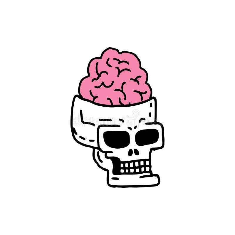 Czaszka z mózg drawning głowa kościec z zwinięciami o ilustracja wektor