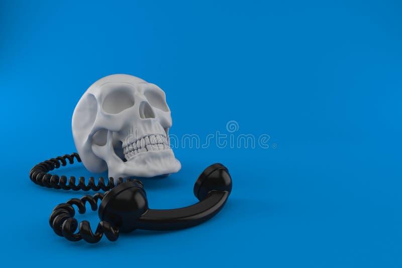 Czaszka z telefonicznym handset ilustracja wektor