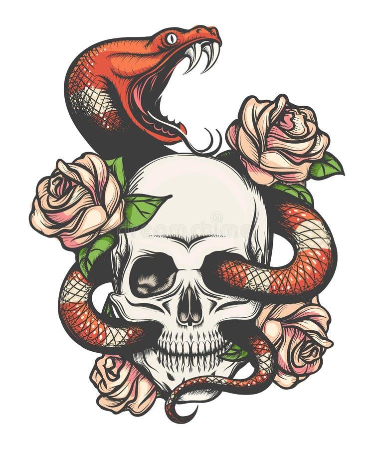 Czaszka z wężem i różami ilustracji