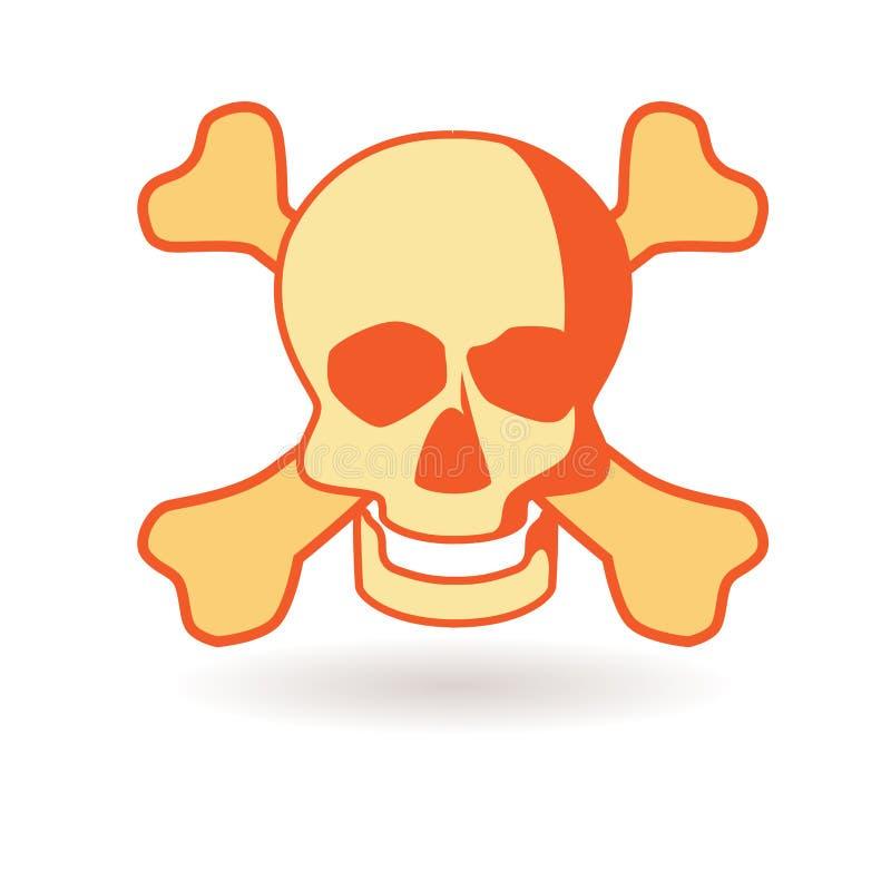 czaszka zabawne znak Ikony śmierć Wolumetryczna kość z cieniem royalty ilustracja