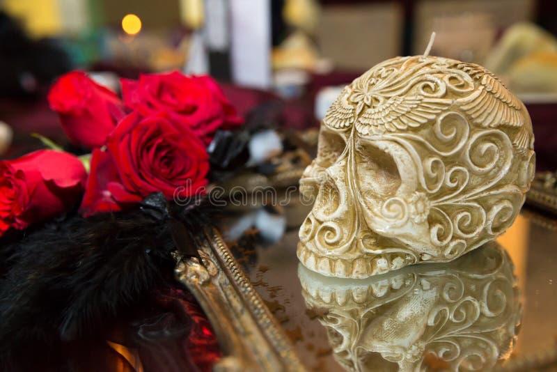 Czaszki świeczka zdjęcia royalty free