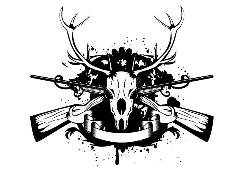 Czaszki artiodactyl i krzyżujący pistolety ilustracja wektor