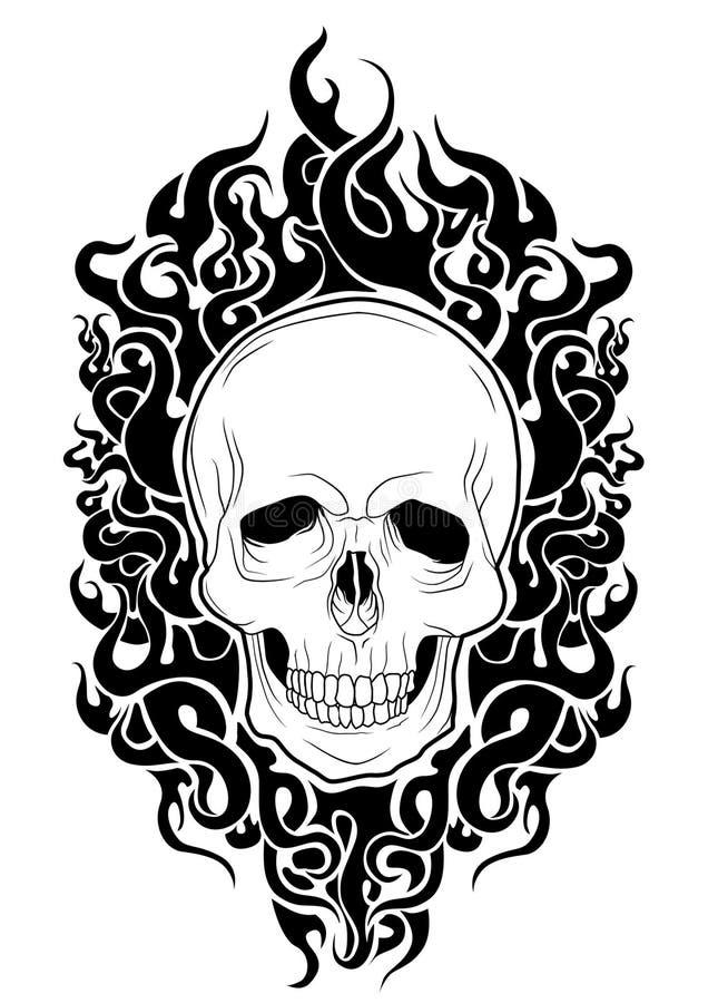 czaszki czerni ogień zdjęcia royalty free