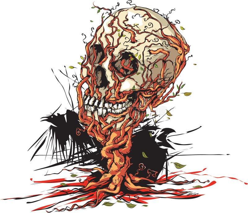 Download Czaszki drzewo ilustracja wektor. Ilustracja złożonej z śmierć - 57671931