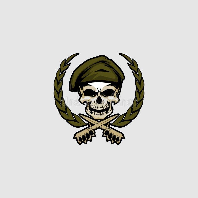 Czaszki głowa z nożowego i laurowego wianku odznaki logo wektorowym szablonem ilustracja wektor