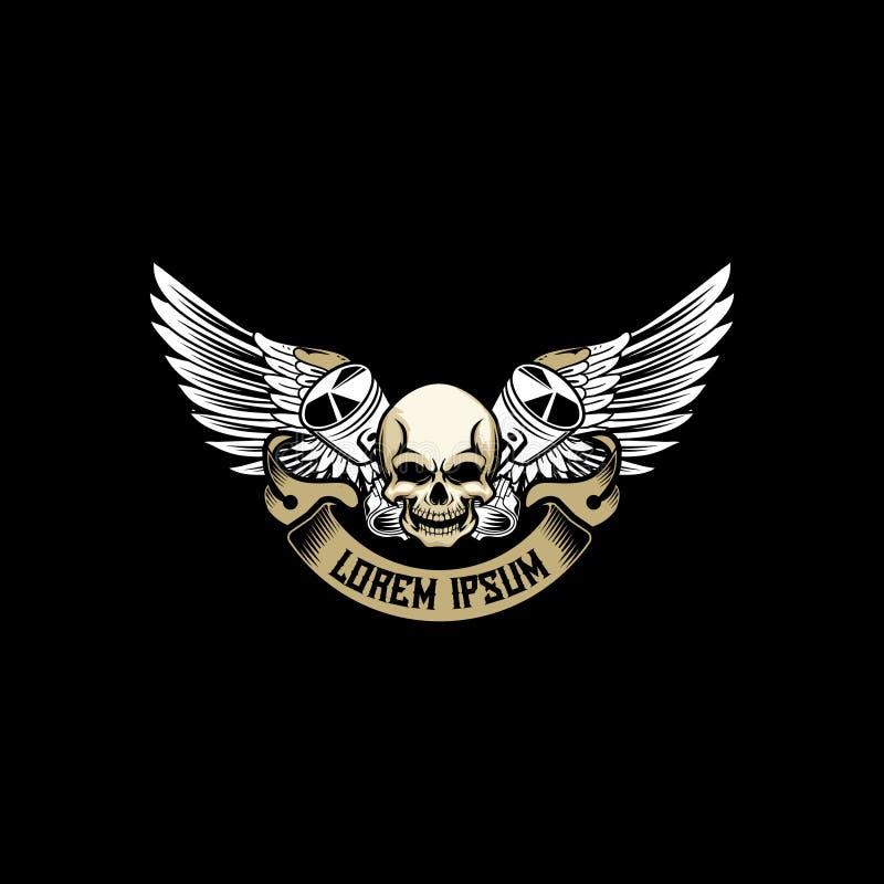 Czaszki głowa z przecinającym tłokiem z skrzydłowym wektorem dla automobilowego lub motocyklu świetlicowego logo odznaki szablonu ilustracja wektor