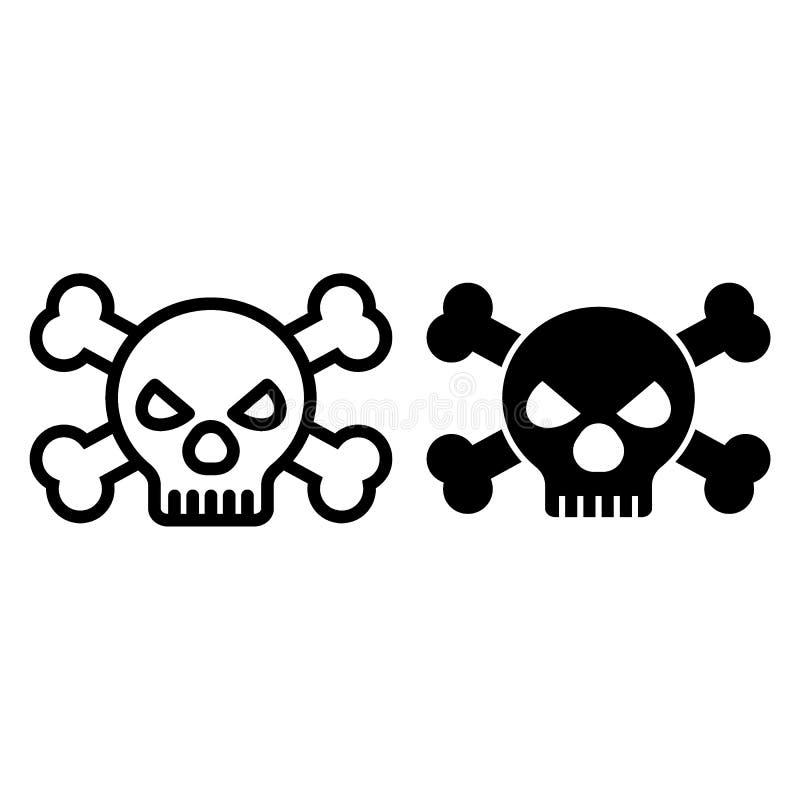 Czaszki i kości linia i glif ikona Niebezpieczeństwo wektorowa ilustracja odizolowywająca na bielu Kościec na kija konturu stylu royalty ilustracja