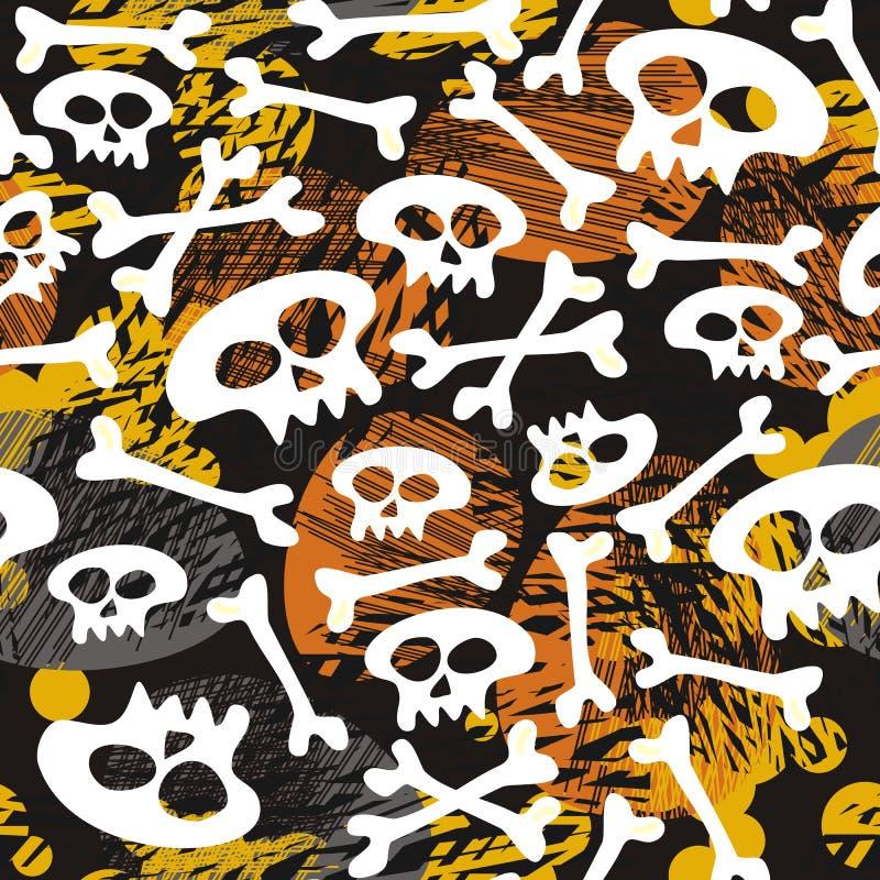 Czaszki i kości na ciemnym Halloween wzorze ilustracji