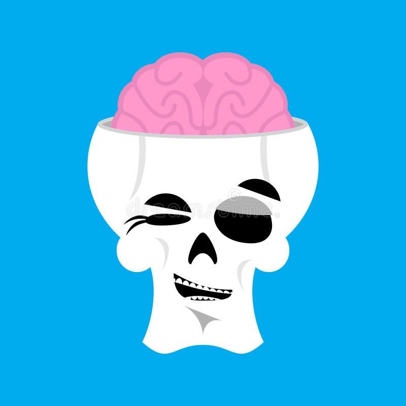 Czaszki i mózg mrugnięcia Emoji kościec kierownicza szczęśliwa emocja odizolowywa royalty ilustracja