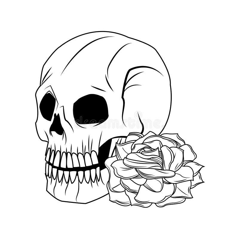 Czaszki i róży tatuażu sztuki projekt ilustracji