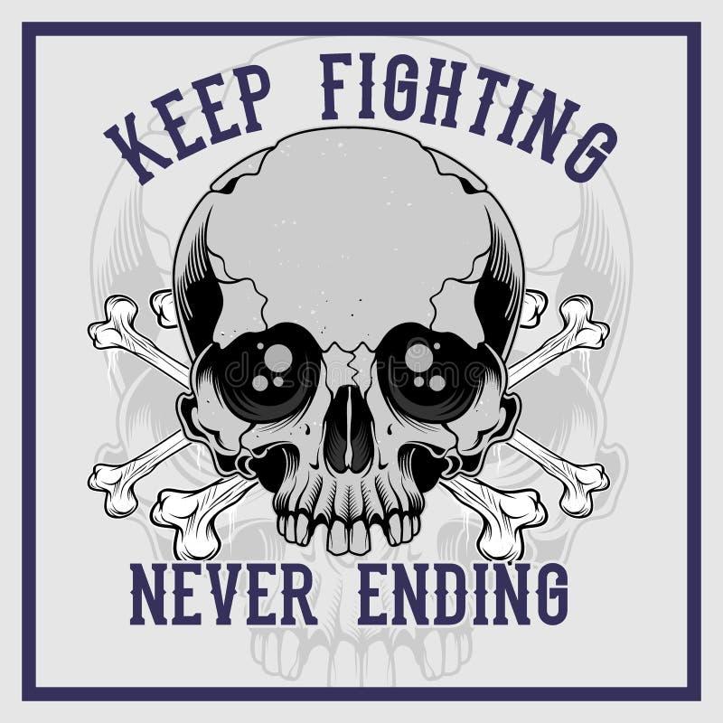 Czaszki kości przecinający utrzymanie walczy nigdy kończyć ręka rysunkowego wektor ilustracja wektor