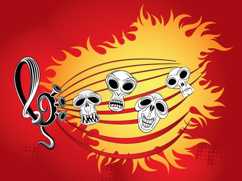 czaszki muzyczna tapeta royalty ilustracja