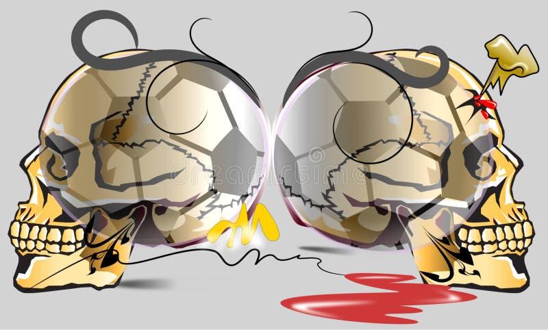 Czaszki niebezpieczeństwo i futbol sztuka ilustracja wektor