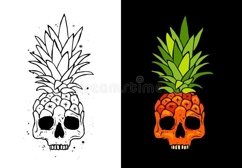 Czaszki owoc ananas Tatuażu pojęcie royalty ilustracja