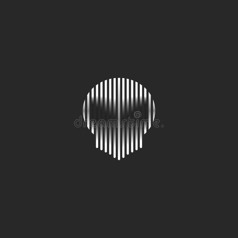 Czaszki stylowego grunge logo paskujący ilustracyjny spirytusowy cień Czarny i biały cienki linia fantomu głowy kształt na ciemny ilustracja wektor