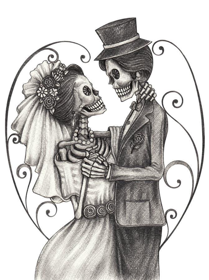 Czaszki sztuki dzień ślubu nieboszczyk ilustracji
