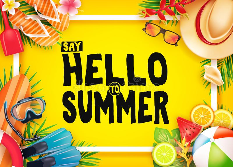 Cześć lato Odgórnego widoku Realistyczny Wektorowy sztandar w Żółtym tle z Ramowymi i Tropikalnymi elementami Lubi akwalungu Nurk ilustracji