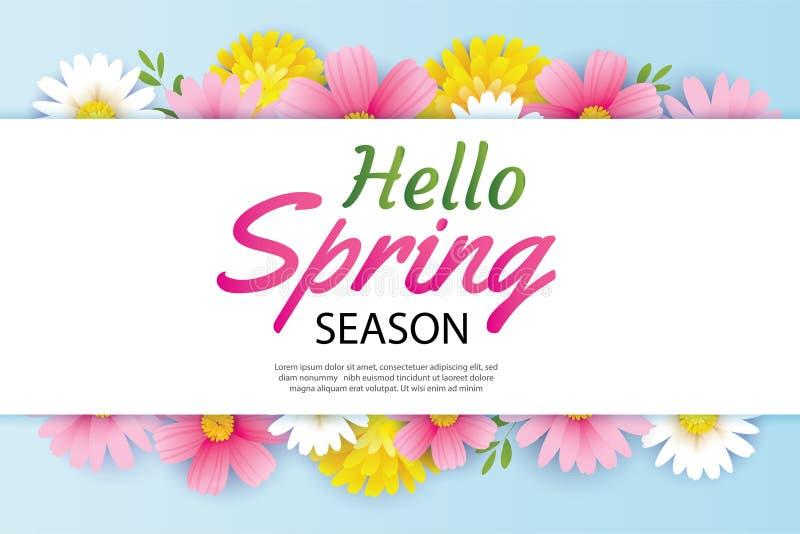Cześć wiosny zaproszenie z kwitnienie kwiatów tła szablonem i kartka z pozdrowieniami Projekt dla pokrywy, ulotki, plakaty, brosz royalty ilustracja