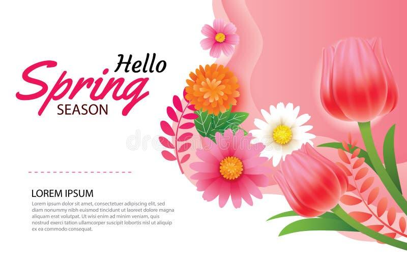 Cześć wiosny zaproszenie z kwitnienie kwiatów tła szablonem i kartka z pozdrowieniami Projekt dla wystroju, ulotki, plakaty, bros ilustracji