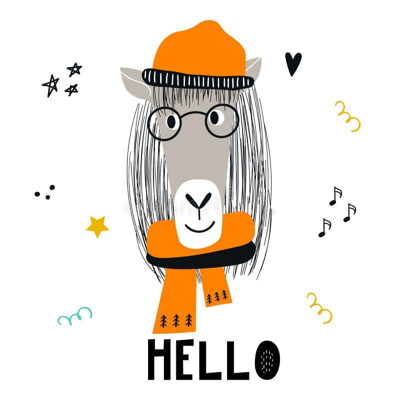Cześć - Śliczna ręka rysujący pepiniera plakat z końskim zwierzęciem z ręka rysującym literowaniem i z szkłami i kapeluszem ilustracja wektor
