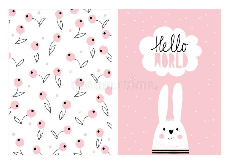 Cześć świat, Biały Śliczny królik Ręka Rysujący dziecko prysznic ilustraci Wektorowy set ilustracji