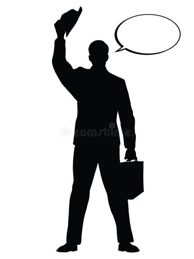 Cześć biznesmena gesta czerni sylwetki kapeluszowa postać ilustracja wektor