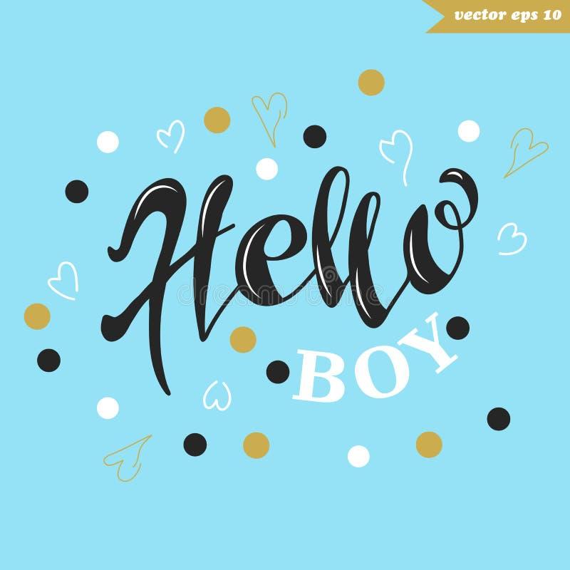 Cześć chłopiec na błękicie ilustracja wektor