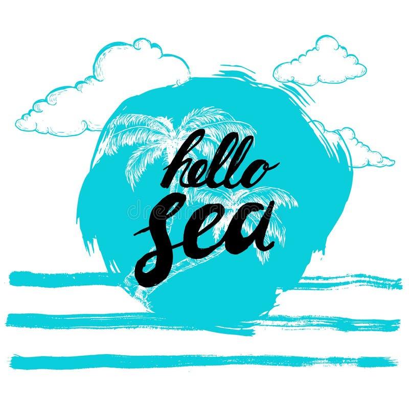 Cześć denny czarnej ręki pisać zwrot na stylizowanym błękitnym tle z ręki rysować palmami kaligrafia Wpisowy atramentu morze cześ ilustracji