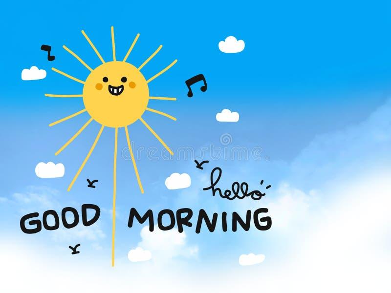 Cześć dnia dobrego słońca uśmiechu kreskówki szczęśliwy doodle na niebieskim niebie ilustracji