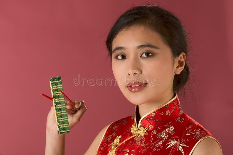cześć dziewczyny azjatykcia technologii obrazy royalty free