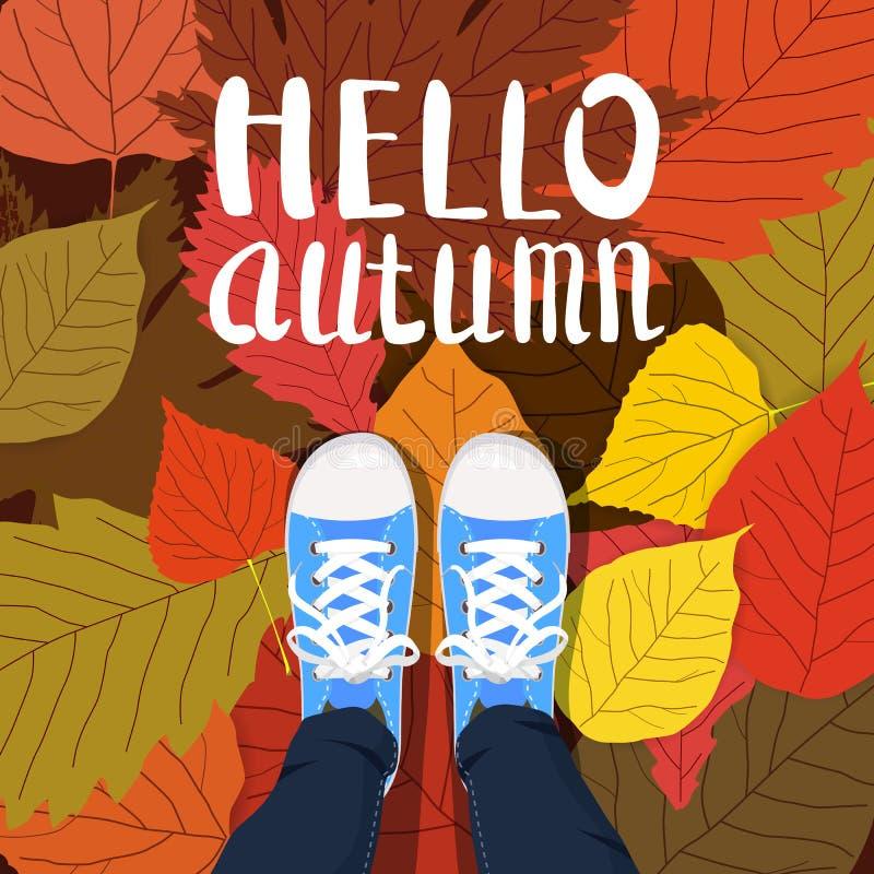 Cześć jesień koloru ilustracja Osoba cieki stoi w sneakers na kolorze żółtym, czerwień, zielenieją spadać liście ręka patroszona royalty ilustracja