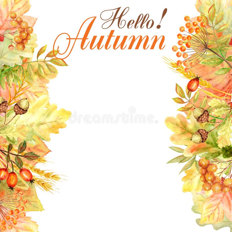 Cześć jesień liścia rama odizolowywająca na białym tle Akwareli jesieni liścia ręka rysująca ilustracja obraz stock