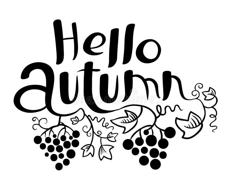 Cześć jesień pisze list czarny i biały skład ilustracja wektor