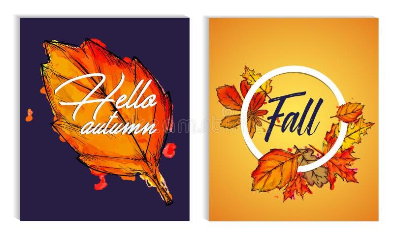 Cześć jesień spadku farby akwareli spadku liści Typograficzna poczta royalty ilustracja