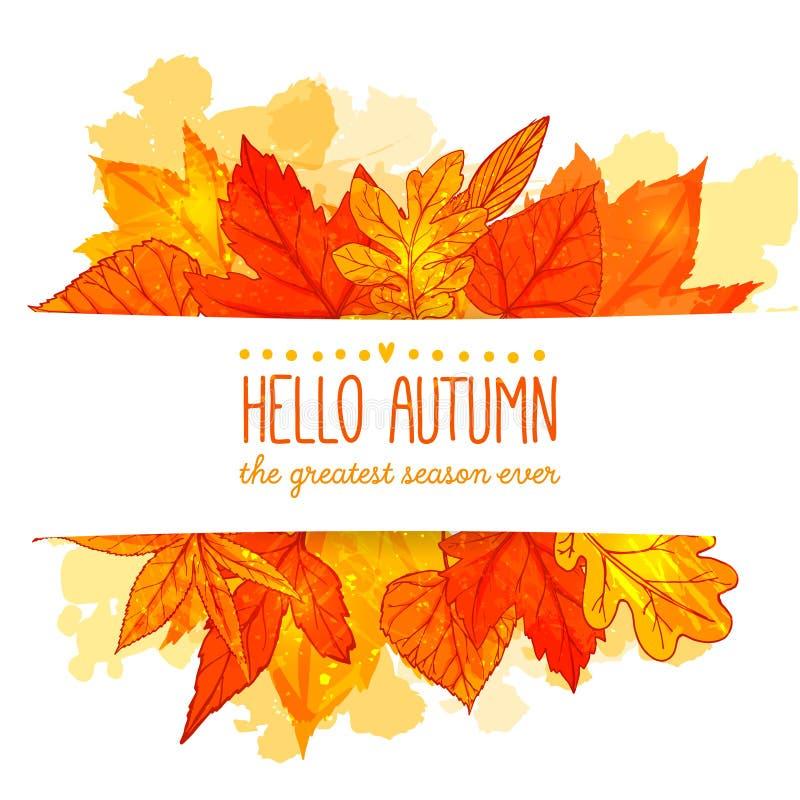 Cześć jesień sztandar z pomarańcze i czerwoną ręką rysującymi royalty ilustracja