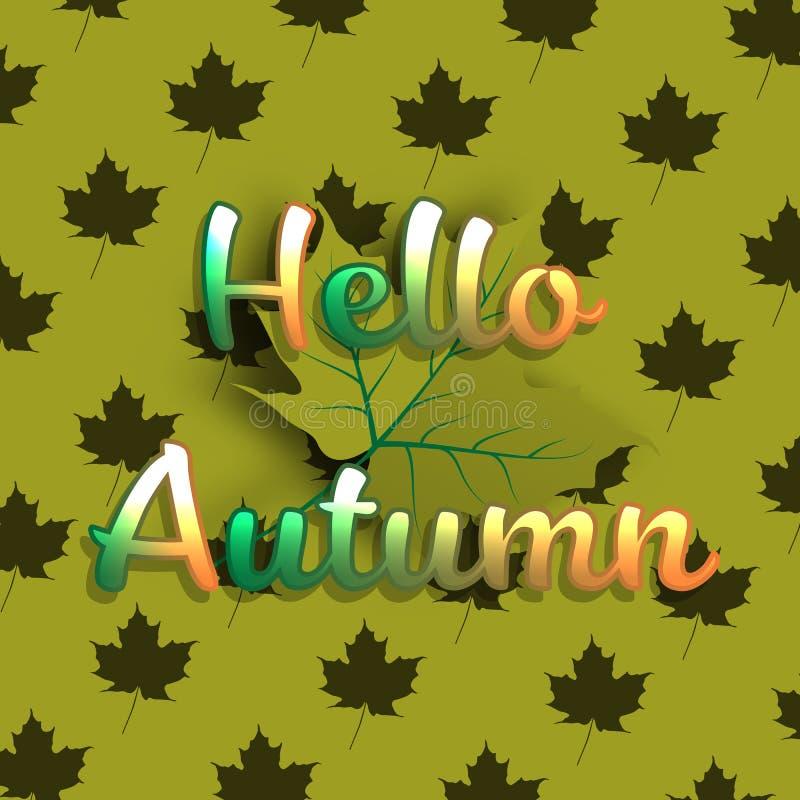 Cześć jesień sztandaru tło z zielonym liściem klonowym ilustracji