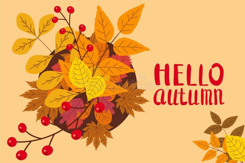 Cześć jesień, tło z spada liśćmi, kolor żółty, pomarańcze, brąz, spadek, literowanie, szablon dla plakata, sztandar royalty ilustracja