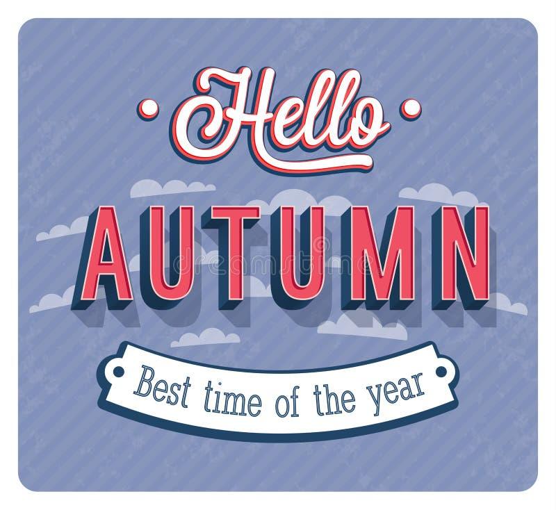 Cześć jesień typograficzny projekt ilustracja wektor