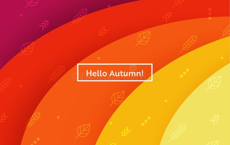 Cześć jesień układ z liśćmi dla sieci, Ląduje stronę, sztandar, plakat, strona internetowa szablon Spadku Sezonowy tło dla App ilustracji