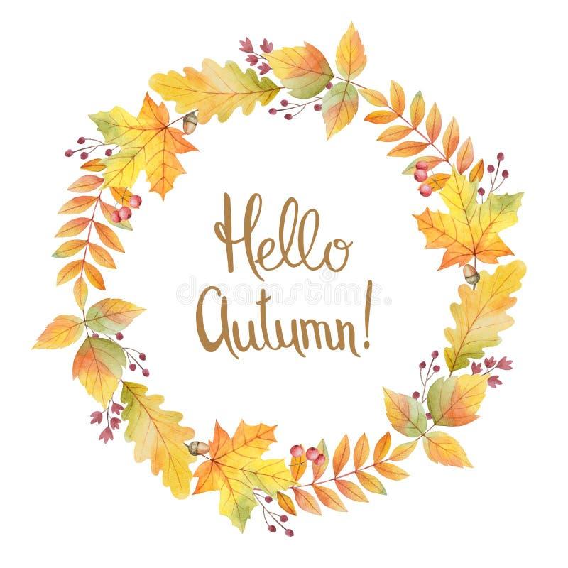 Cześć jesieni akwareli round rama z barwionymi liśćmi i ręki literowaniem ilustracja wektor