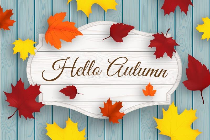 Cześć jesieni drewniany signboard z liśćmi i błękitnymi starymi drewno deskami wektor royalty ilustracja