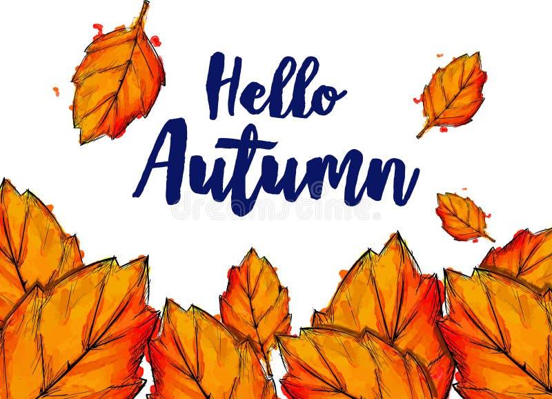 Cześć jesieni farby akwareli spadku Typograficzni liście ilustracji